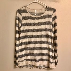 Striped Sweater with Lace Detail